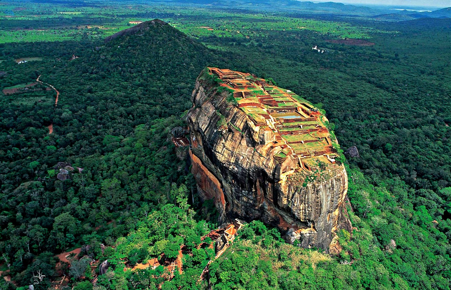 An Aerial view of the famous Sigiriya, Sri Lanka